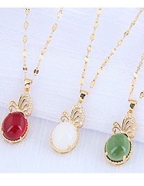 Fashion Red Wine Butterfly Dance Inlaid Zircon Hollow Alloy Jade Necklace