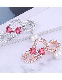 Fashion Rose Gold Color Diamond-studded Butterfly Combined With Gold Hollow Pearl Brooch