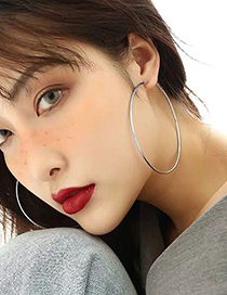 Fashion Silver Color 40mm Glossy Round Alloy Earrings