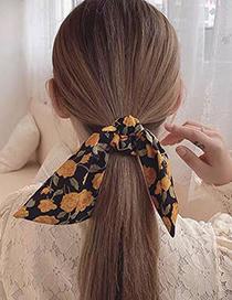 Fashion Yellow Rabbit Fur Fabric Bow Bow Large Intestine Loop Hair Rope