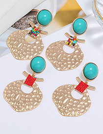 Fashion Color Mixing Leaf Resin Beaded Alloy Earrings