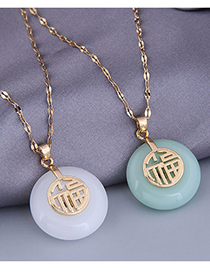 Fashion White Fu Character Jade Alloy Round Necklace