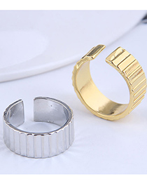 Fashion Silver Color Wave Pattern Wide Edge Open Ring