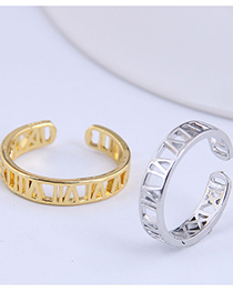 Fashion Silver Color Letter Hollow Alloy Open Ring