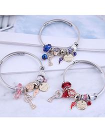 Fashion Royal Blue Diamond Key Lock-shaped Oil Drip Alloy Bracelet