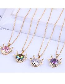 Fashion Pink Diamond Micro-inlaid Zircon Auspicious Horn Necklace
