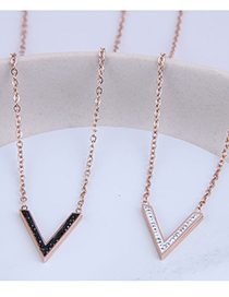 Fashion Rose Gold V-shaped Diamond Necklace In Titanium Steel