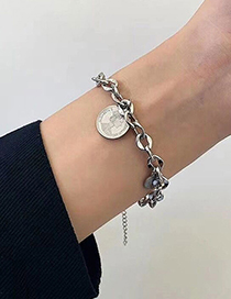 Fashion Silver Stainless Steel Coin Pendant Round Bracelet
