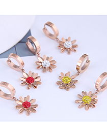 Fashion Yellow Diamond Diamond-studded Small Chrysanthemum Titanium Steel Earrings