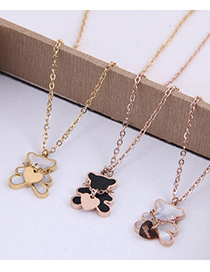 Fashion Black Love Bear Titanium Steel Necklace