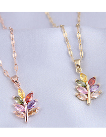 Fashion Golden Branch And Leaf Pendant Micro-inlaid Zircon Necklace
