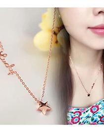 Fashion Black Titanium Steel Star Letter Pendant Necklace