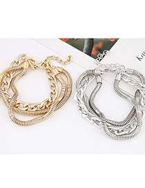 Fashion Gold Color Thick Chain Alloy Multilayer Chain Bracelet