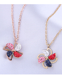 Fashion Gold Color Diamond And Hit Color Windmill Titanium Steel Necklace (rotatable)
