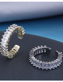 Fashion Silver Copper Inlaid Zircon Open Ring