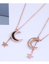 Fashion Silver Color Titanium Steel Star And Moon Necklace