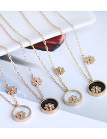 Fashion Black-gold Color Flowers Titanium Steel Round Small Daisy Necklace