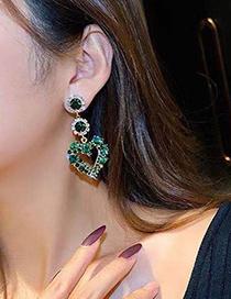 Fashion Green Gemstone Love Stud Earrings