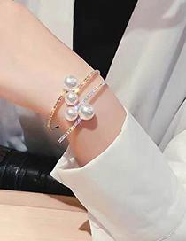 Pulsera Abierta De Perlas Con Diamantes Y Purpurina De Metal