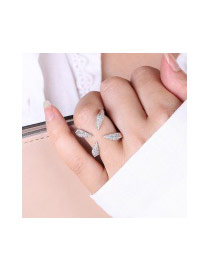 Fashion Silver Color Oval Shape Diamond Decorated Claw Shape Pure Color Ring
