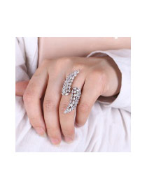 Fashion Silver Color Water Drop Diamond Decorated Hollow Out Feather Shape Ring