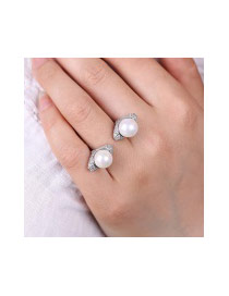Fashion White Full Diamond&pearls Decorated Simple Opening Ring