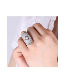 Fashion Silver Color Full Diamond Decorated Hollow Out Sunflower Shape Ring