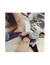 Fashion Silver Color Water Drop Shape Diamond Decorated Tassel Design Opening Bracelet