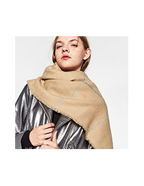 Fashion Khaki Grid Pattern Decorated Color Matching Scarf