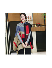 Fashion Blue+gray Grid Pattern Decorated Cloak Design Scarf