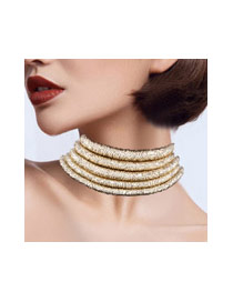 Elegant Gold Color Pure Color Decorated Short Chain Mutilayer Necklace