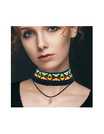 Bohemia Blue Painted Design Decorated Double Layer Choker