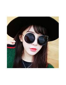 Fashion Silver Color Cat Design Hollow Out Simple Sunglasses