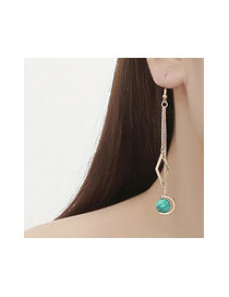 Elegant Green Beads&hollow Out Rhombus Shape Pendant Decorated Simple Earrings