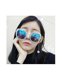 Sweet Blue Big Frame Shape Decorated Color Matching Sunglass