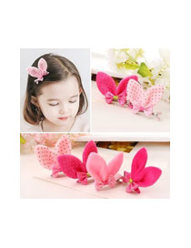 Lovely Blue Bowknot Decorated Rabbit Ears Shape Color Matching Simple Hair Clip