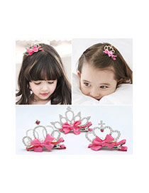 Fashion Plum Red Crown Decorated Bowknot Design Simple Hair Clip