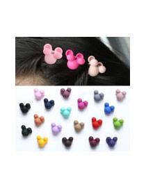 Cute Coffee Bear Ear Shape Decorated Round Hair Clip