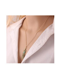 Fashion Blue Leaf Pendant Decorated Simple Long Necklace