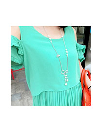 Fashion Silver Color Bowknot Pendant Decorated Simple Long Necklace