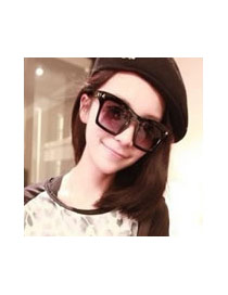Fashion Leopard Color Triangle Decorated Simple Square Shape Design Sunglasses