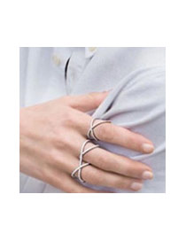 Luxuly Silver Color Round Shape Decorated Hollow Out Simple Ring