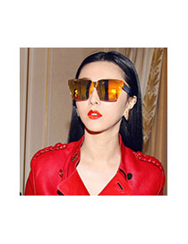 Fashion Champagne Pure Color Decorated Square Shape Frames Simple Sunglasses