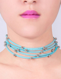 Lovely Pink Metal Round Shape Decorated Simple Multilayer Choker