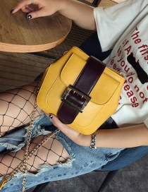 Fashion White Square Shape Buckle Decorated Color Matching Shoulder Bag