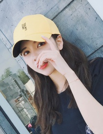 Fashion Yellow Letter Pattern Decorated Color Matching Simple Baseball Cap