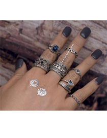 Retro Silver Color Hollow Out Design Pure Color Simple Rings (7pcs)