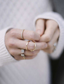 Elegant Black Pure Color Decorated Double Layer Simple Ring