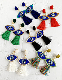Fashion Color Alloy Studded Eye Tassel Earrings