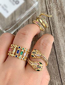 Fashion Gold Copper Inlaid Zircon Snake Ring